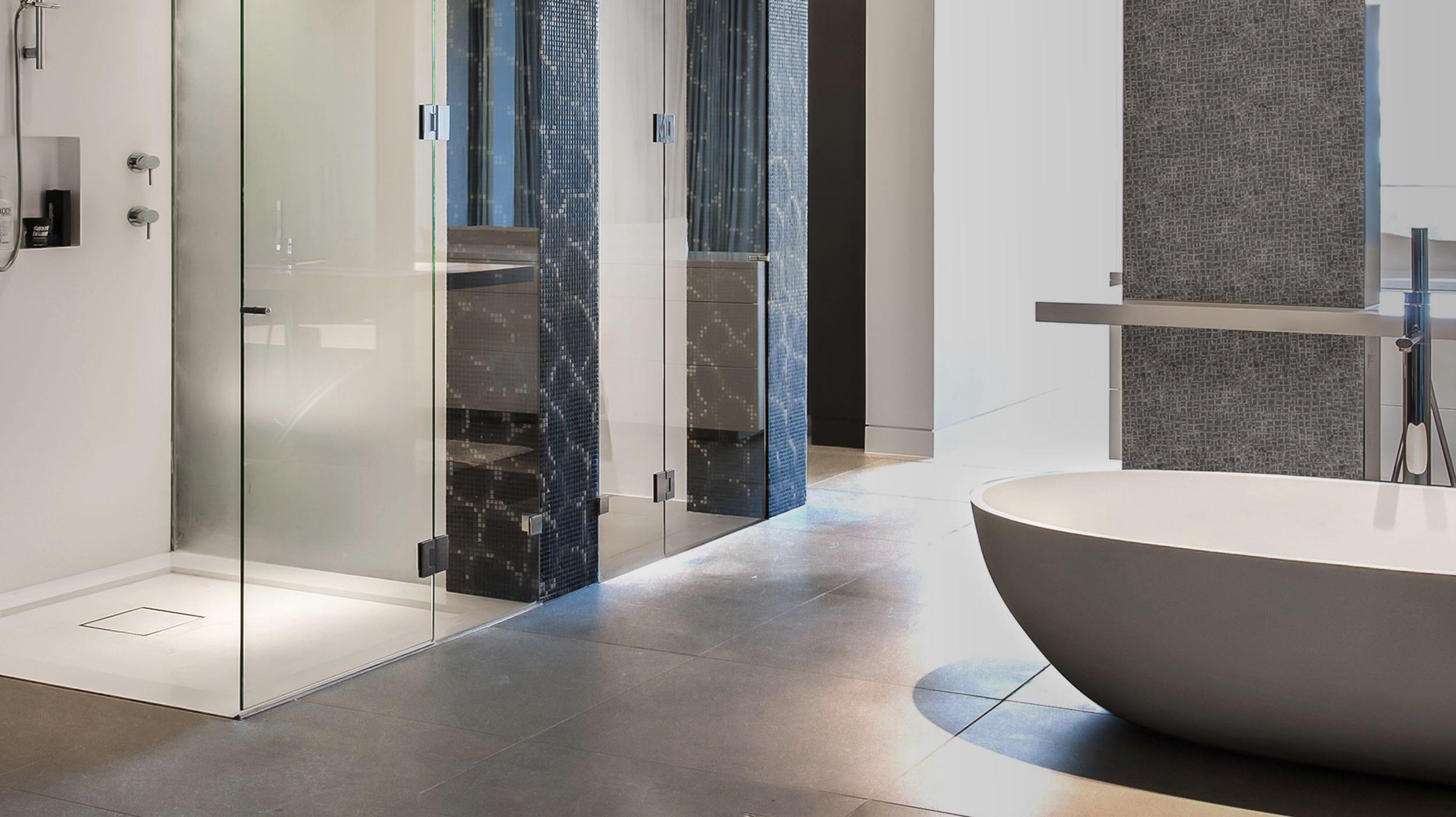 Baño de piedra caliza gris Grey Navy - Grey Limestone bathroom Grey Navy