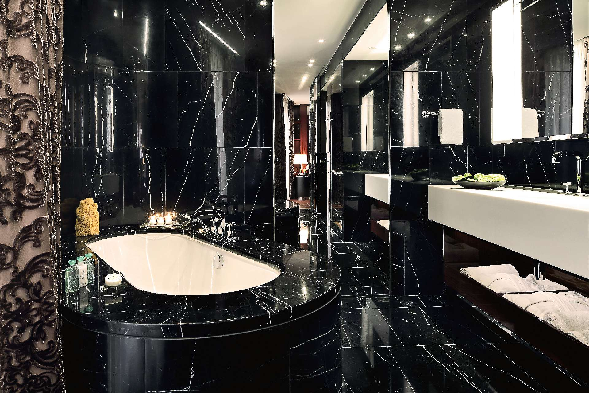Black Marble Bathroom Worktop Tino Natural Stone