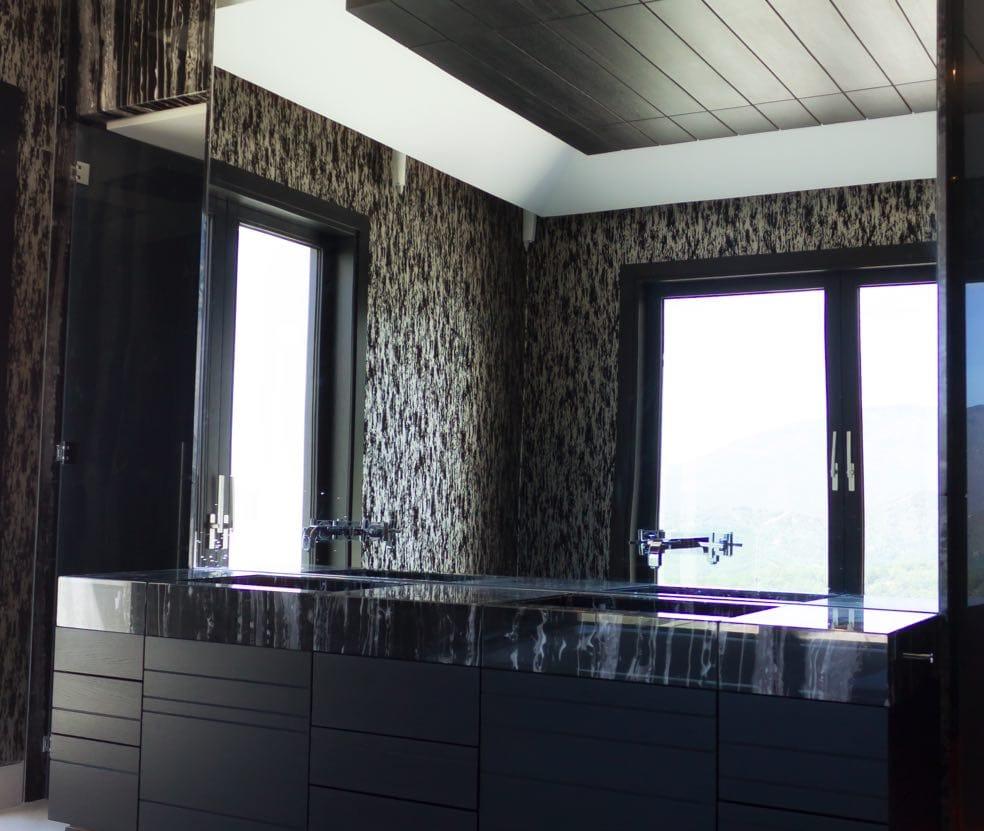 Black Marble Buildings : Encimera de mármol negro para baño tino natural stone