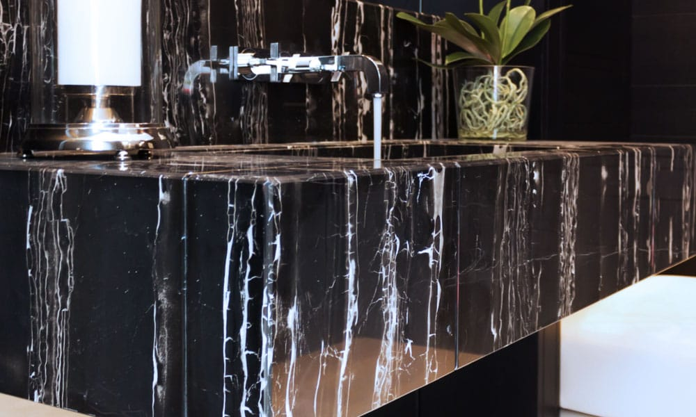 Black marble bathroom worktop Black Dune - Encimera de baño de mármol negro Black Dune