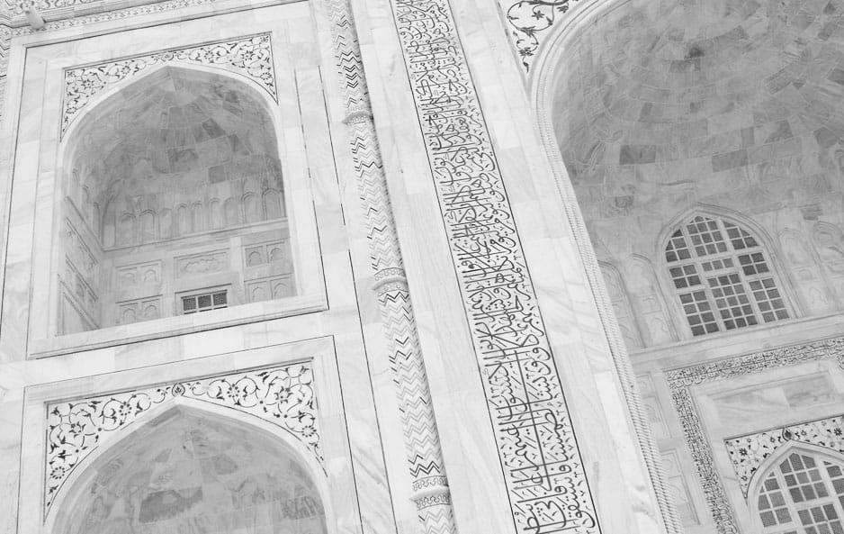 Taj Mahal white marble - Mármol blanco en el Taj Mahal