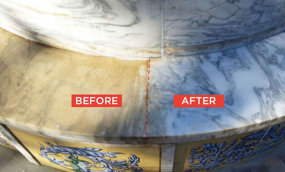 Restoration of marble or natural stone before and after
