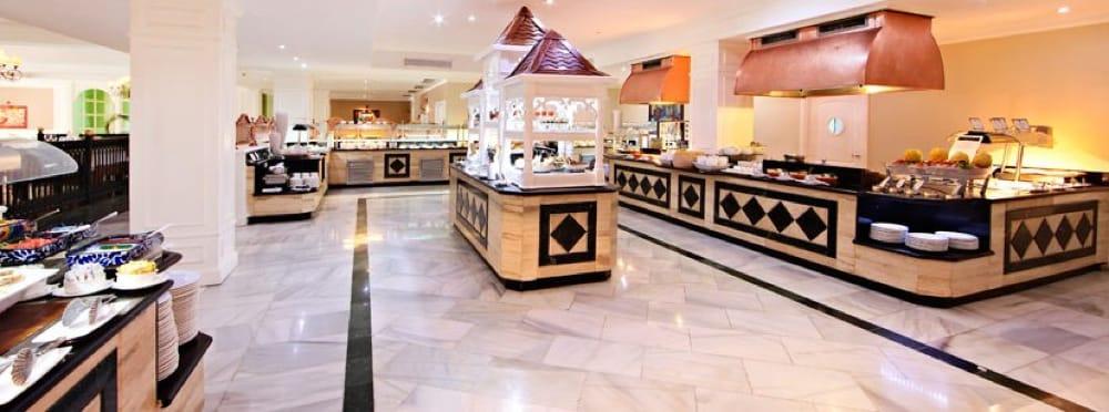 Blanco Macael White - Verde Oriental Green - Amarillo Triana Yellow - Bahia Principe Cayo Levantado Restaurant