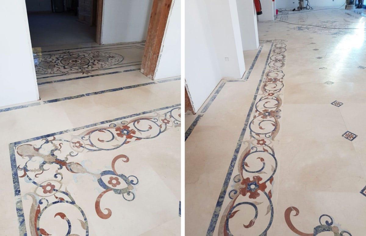 Pulido de un mosaico de mármol - Marble mosaic
