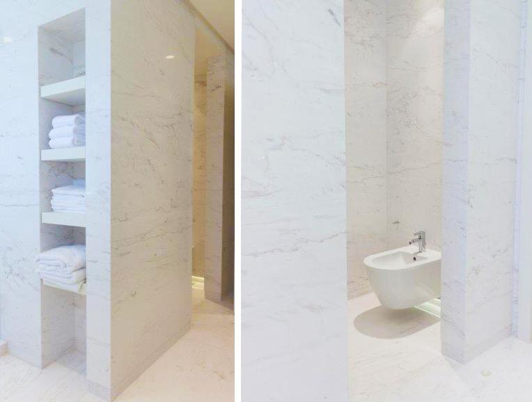 Baño de mármol Blanco Nebula - Nebula White marble bathroom