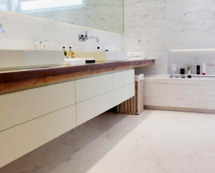 Lavabo de mármol Blanco Nebula - Nebula White marble washbasin