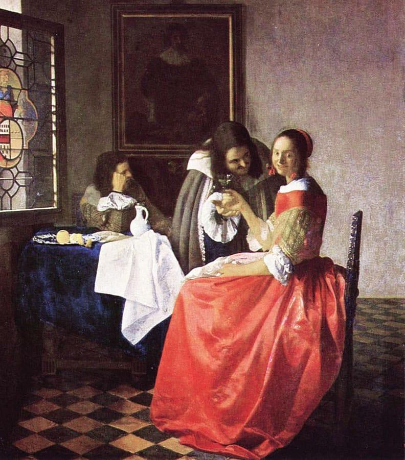 Muchacha con copa de vino, Vermeer - Girl with a glass of wine, Vermeer.