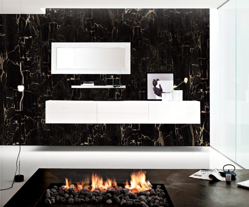 Mármol negro - Vulcano - Black marble - Mármol con vetas doradas - Marble with golden veins