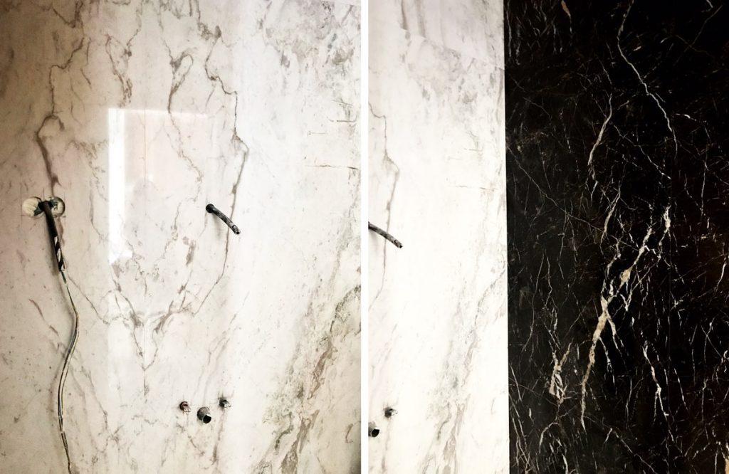 Baño de mármol Blanco Nebula y mármol negro Saint Laurent - Nebula White marble and Saint Laurent black marble bathroom