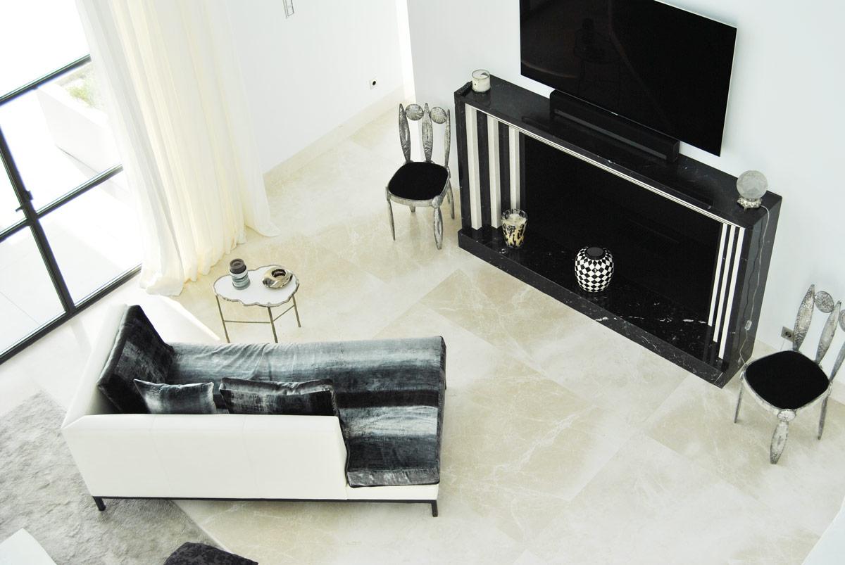 Premium Beige marble Marquina Black marble living room - Flamingos - Salón de mármol Crema Premium y Negro Marquina
