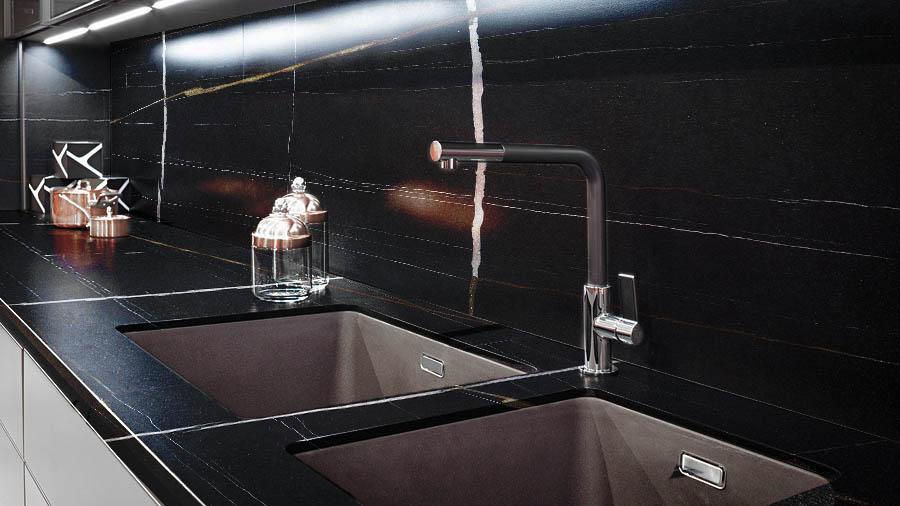 Blak Mirage marble - Kitchen - Cocina - Mármol Black Mirage