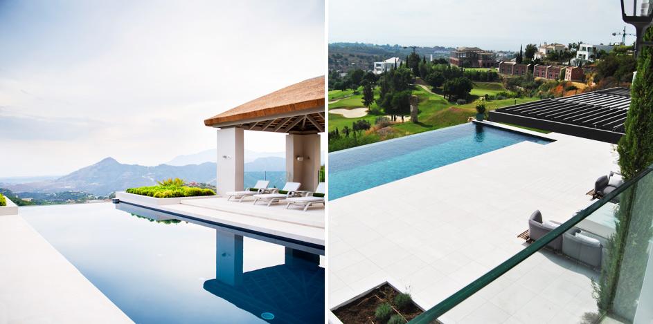 Piscinas y terrazas de piedra natural en el estilo mediterráneo